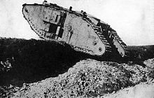 World War 1 Picture - British Mark IV Female tank crossing a trench (training in England, 1917)