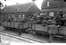 World War 1 Picture - German troops loading for transport to the front about 1915.