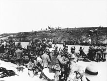 World War 1 Picture - German front line at Tsingtao 1914; the head cover identifies these men as members of III Sea Battalion of Marines.
