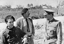 World War 1 Picture - Hemingway (center) with Dutch filmmaker Joris Ivens, and German writer Ludwig Renn (serving as an International Brigades officer) in Spain during Spanish Civil War, 1937.