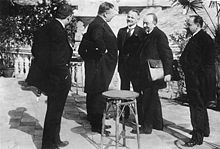 World War 1 Picture - Chancellor of Germany Joseph Wirth (2.from left) with Krassin, Georgi Chicherin and Joffe from the Russian delegation.