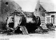 World War 1 Picture - Destroyed British tank, 29 November 1917