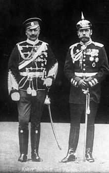 World War 1 Picture - Wilhelm II with Nicholas II of Russia in 1905, wearing the military uniforms of each other's nations