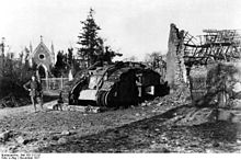 World War 1 Picture - Captured British tank at Cambrai