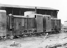 World War 1 Picture - A pair of trench railway tractors in the Minico yard of the Australian 17th Light Railway Operating Company during the Battle of Passchendaele.