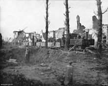 World War 1 Picture - Australian 17th Light Railway Operating Company ballast train near Ypres pulled by Cooke 2-6-2 tank locomotive # 1217.