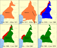 World War 1 Picture - Cameroon over time,    German Kamerun,    British Cameroons,    French Cameroun,    Republic of Cameroon
