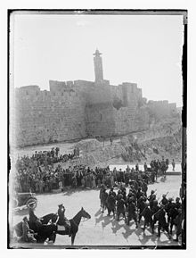 World War 1 Picture - British troops on parade at Jaffa Gate in December 1917 after the capture and occupation of Palestine
