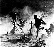 World War 1 Picture - Chinese troops advancing through the gas during the Second Sino-Japanese War.