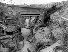 World War 1 Picture - A British trench near the Albert-Bapaume road at Ovillers-la-Boisselle, July 1916 during the Battle of the Somme. The men are from A Company, 11th Battalion, The Cheshire Regiment
