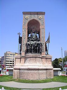 World War 1 Picture - Ataturk's statues are erected in every town of Turkey. The Monument of the Republic, crafted by the famous Italian sculptor Pietro Canonica, is located at the Taksim Square in Istanbul.