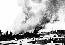 World War 1 Picture - Damascus in flames as the result of the French air raid on October 18, 1925.