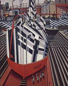 World War 1 Picture - Painting of Dazzle-ships in Drydock at Liverpool, by Edward Wadsworth, 1919