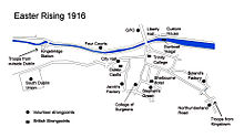World War 1 Picture - Placements of Rebel forces and British troops around the River Liffey in Dublin