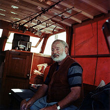 World War 1 Picture - Ernest Hemingway in the cabin of his boat Pilar, off the coast of Cuba