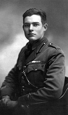 World War 1 Picture - Hemingway photographed in Milan, 1918, dressed in uniform. For two months he drove ambulances until he was wounded.