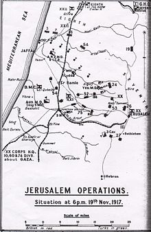World War 1 Picture - Jerusalem Operations. Situation at 18:00 19 November 1917