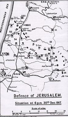 World War 1 Picture - Falls' Sketch Map 21: Defence of Jerusalem. Situation on 30 December 1917 at 1800