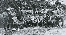 World War 1 Picture - Western military attach�s and war correspondents with the Japanese forces after the Battle of Shaho (1904): 1. Robert Collins; 2. David Fraser; 3. Capt. Francois Dhani; 4. Capt. James Jardine; 5. Frederick McKenzie; 6. Edward Knight; 7. Charles Victor-Thomas; 8. Oscar Davis; 9. William Maxwell; 10. Robert MacHugh; 11. William Dinwiddie; 12. Frederick Palmer; 13. Capt. Berkeley Vincent; 14. John Bass; 15. Martin Donohoe; 16. Capt. ____; 17. Capt. Carl von Hoffman; 18. ____; 19. ____; 20. ____; 21. Gen. Sir Ian Hamilton; 22. ____; 23. ____; 24. ____; 25. ____.