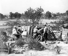World War 1 Picture - French Colonial 75 mm artillery gun in action near Sedd el Bahr at Cape Helles, Gallipoli during the Third Battle of Krithia, 4 June 1915.