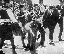 World War 1 Picture - Gavrilo Princip (second from right), the assassin of Franz Ferdinand, being arrested by Austro-Hungarian police.