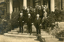 World War 1 Picture - The 1922 Genoa Conference. The British Prime Minister Lloyd George on front row, left.
