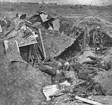 World War 1 Picture - A demolished German trench and dugout near Guillemont