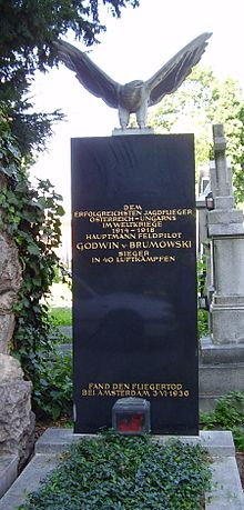 World War 1 Picture - The grave of Godwin Brumowski at Zentralfriedhof in Vienna, Austria.