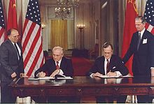 World War 1 Picture - George H. W. Bush and Mikhail Gorbachev signing the bilateral treaty on 1990-06-01