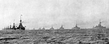 World War 1 Picture - The British Grand Fleet steaming in parallel columns at the outbreak of war in 1914