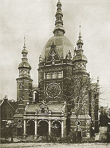 World War 1 Picture - Then Great Synagogue on Reitbahn street, Rechtstadt quarter of Danzig.
