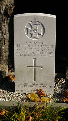 World War 1 Picture - Grave of Prince Maurice of Battenberg in Ypres, Belgium.