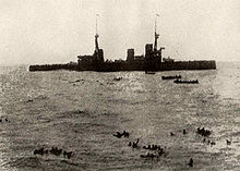 World War 1 Picture - HMS Inflexible picking up German sailors from Gneisenau after the battle