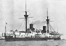 World War 1 Picture - HMS Inflexible (after original full sailing masts were removed in 1885)