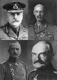 World War 1 Picture - Commanders (Top Left clockwise) General Alexander Haig, Commander of the BEF on the Somme, General Rawlinson, Commander British 4th Army General von Below, Commander of the German 2nd Army on the Somme; General von Falkenhayn: Commander of German forces on the Western Front