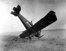 World War 1 Picture - A German Hannover CL III shot down on October 4 between Montfaucon and Cierges.