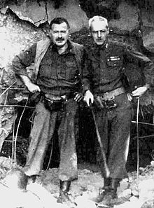World War 1 Picture - Hemingway with Col. Charles (Buck) T. Lanham in Germany, 1944, during the fighting in Hx�rtgenwald, after which he became ill with pneumonia.