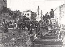 World War 1 Picture - 53rd Infantry Division occupied Bethlehem on night of 9 December; 4th Sussex Regiment is marching through the town