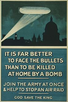 World War 1 Picture - British WWI poster of a Zeppelin above London at nighttime, with the text