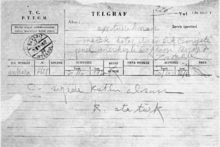 World War 1 Picture - Telegram sent by Ataturk after the local legislative assembly accepted his proposal for the Hatay State's flag.