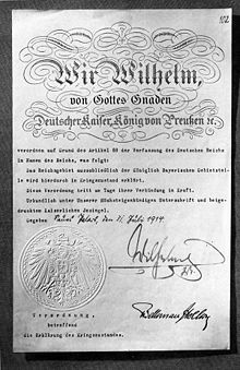 World War 1 Picture - Declaration of a state of war from the German Empire in 1914.