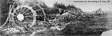 World War 1 Picture - Wreckage of LZ 4. It was destroyed when a storm broke the zeppelin from its mooring, causing it to crash into a tree and catch fire.