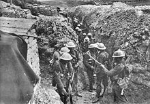 World War 1 Picture - 1st Lancashire Fusiliers, in communication trench near Beaumont Hamel, Somme, 1916. Photo by Ernest Brooks.