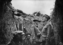 World War 1 Picture - A trench at Lone Pine after the battle, showing Australian and Ottoman dead on the parapet