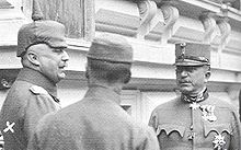 World War 1 Picture - Arz (right) with Ludendorff (left) at Army Headquarters in Baden, 1917