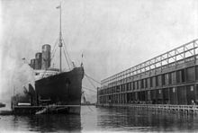 World War 1 Picture - Photo of Lusitania arriving at Pier 54 in New York City in 1908