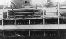 World War 1 Picture - 1914 picture showing additional collapsible lifeboats added to the ship