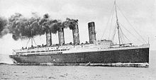 World War 1 Picture - Lusitania with steam up on builder's trial