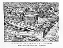 World War 1 Picture - Illustration of Lusitania's life boats in the slip in Queenstown