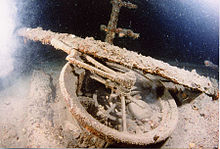 World War 1 Picture - The telegraph on the wreck of Lusitania